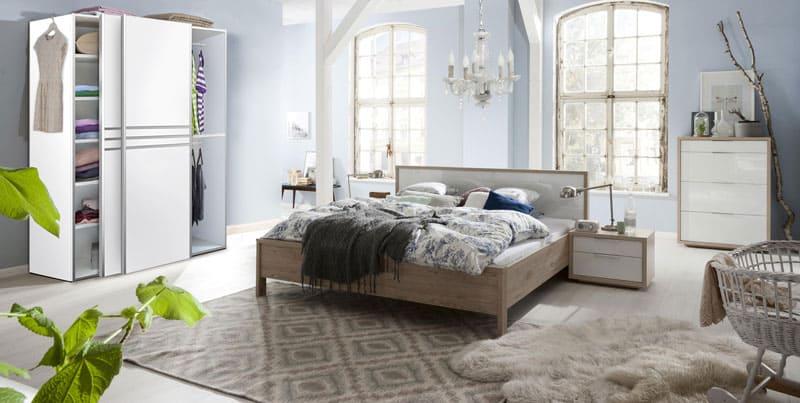 ארון הזזה מדגם פריז בתוך הדמיה של חדר שינה
