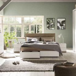 מיטה מעוצבת הכוללת מגירות ברוחב 140